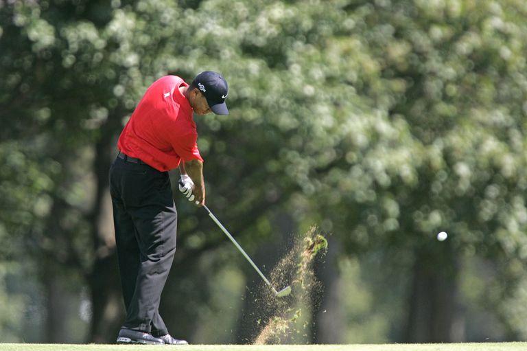 Tiger Woods hits a shot during his victory at the 2006 PGA Championship