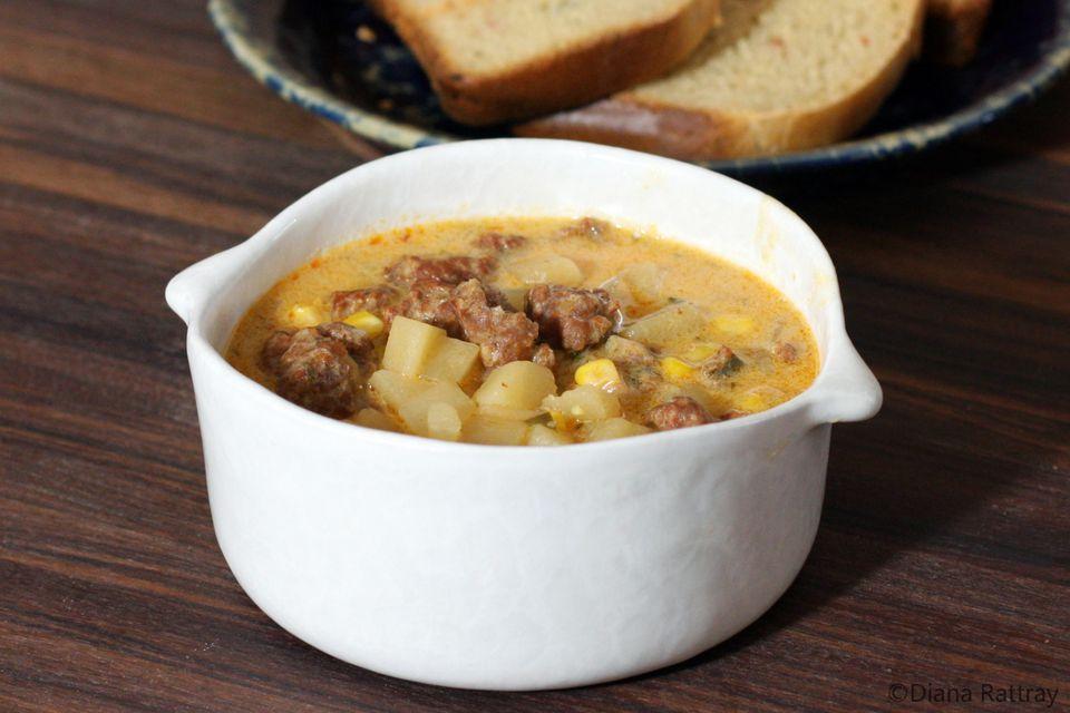 Potato Corn Soup With Chorizo