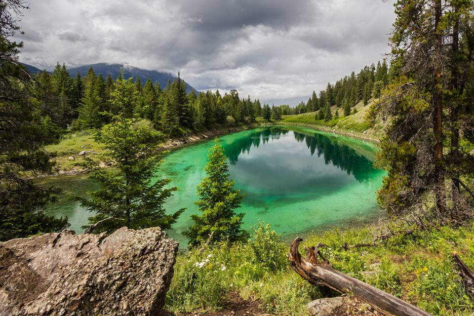 Scenic View Of Lake Amidst Trees Against Cloudy Sky At Jasper National Park