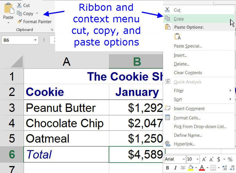 Cut, Copy, and Paste Options in Excel