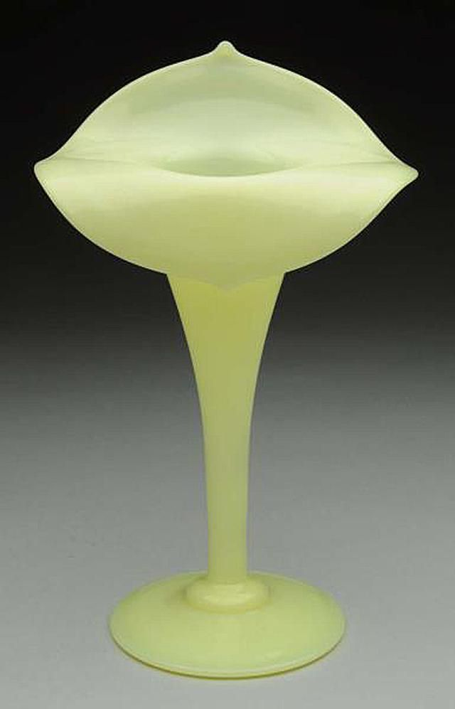 French Custard Glass Jack in the Pulpit Vase