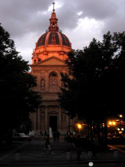 La Sorbonne under stormy skies.