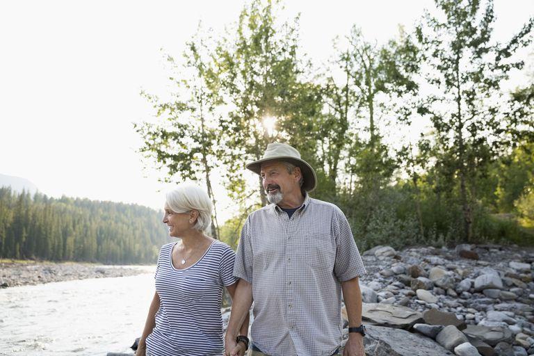 mature couple hiking