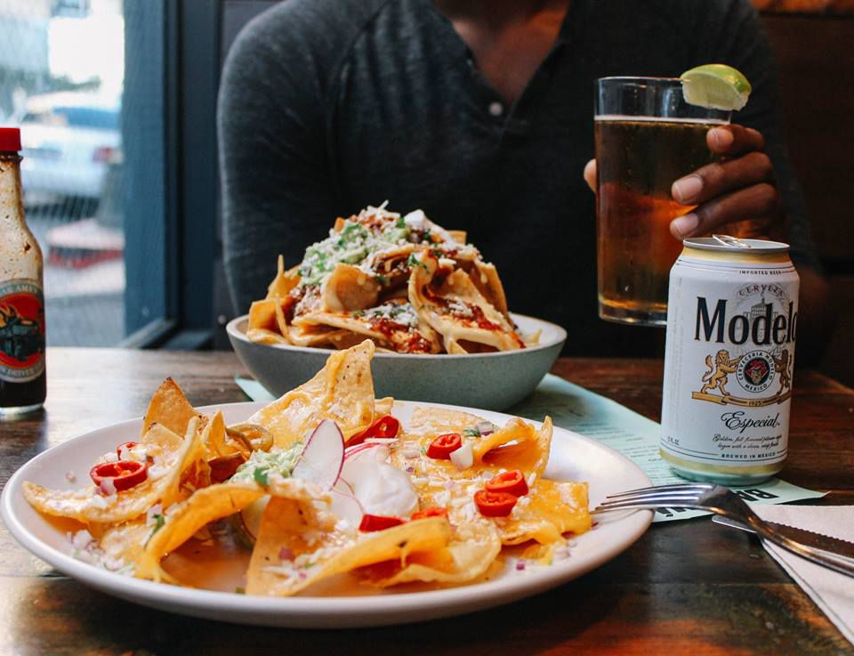 Nachos and a Model at Bar Ama's Super Nacho Hour in Downtown Los Angeles