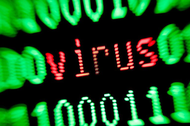 Virus in red with green numbers