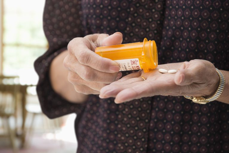 Woman holding medication pills