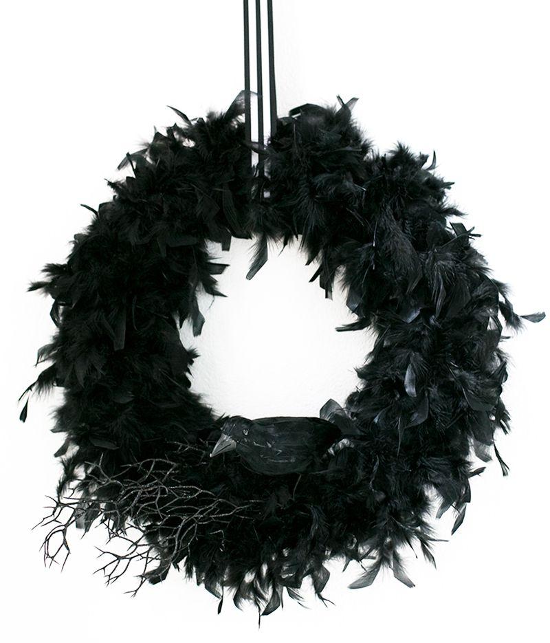 DIY Black Feathered Wreath