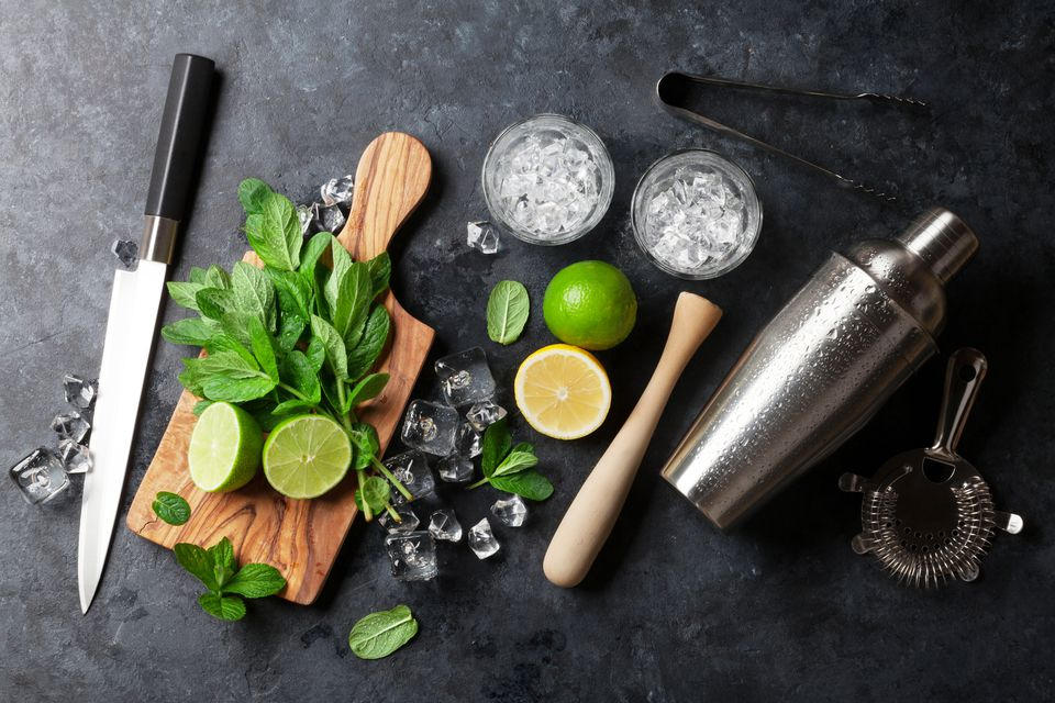 Overhead view of mojito making supplies