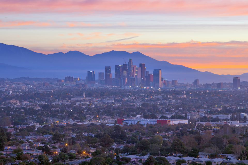 Downtown Los Angeles at sunset.