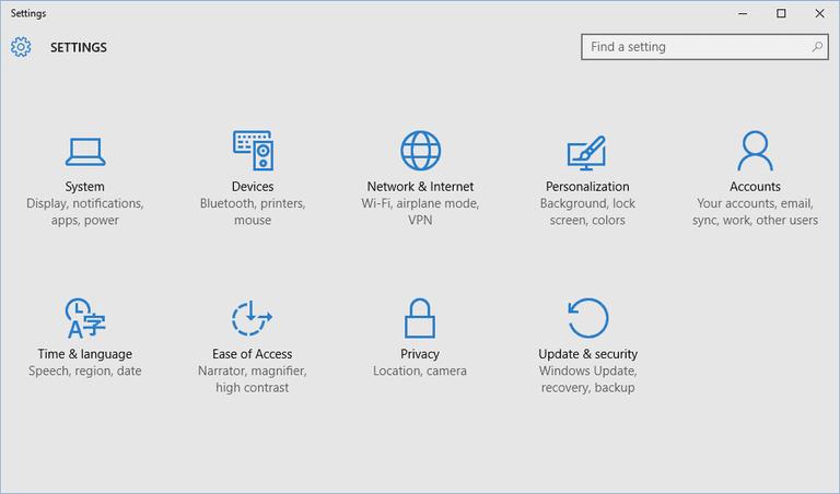 Windows 10's Settings app.
