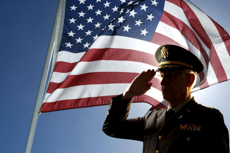 Picture of a man saluting in front of an American flag