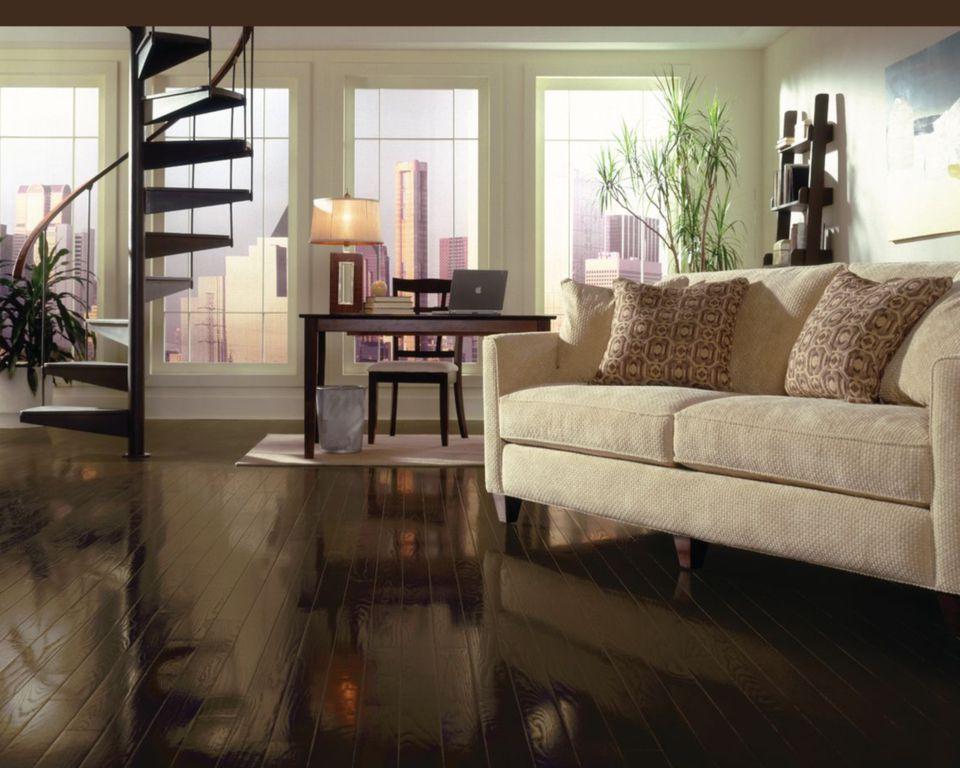 A living room with Bruce Espresso Oak flooring