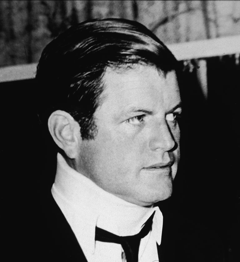 A picture of Ted Kennedy in a neck brace after the Chappaquiddick incident.