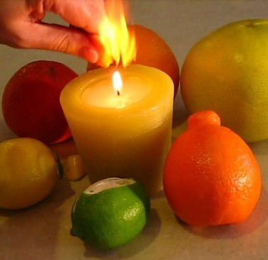 Squeeze citrus oil onto a flame for a bright flash of fire.