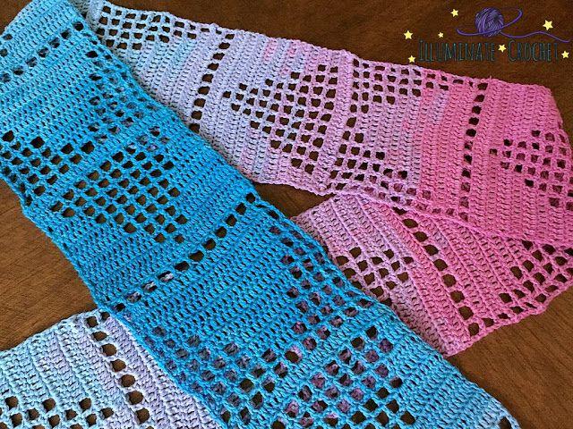 Filet Crochet Triangles Scarf Free Pattern