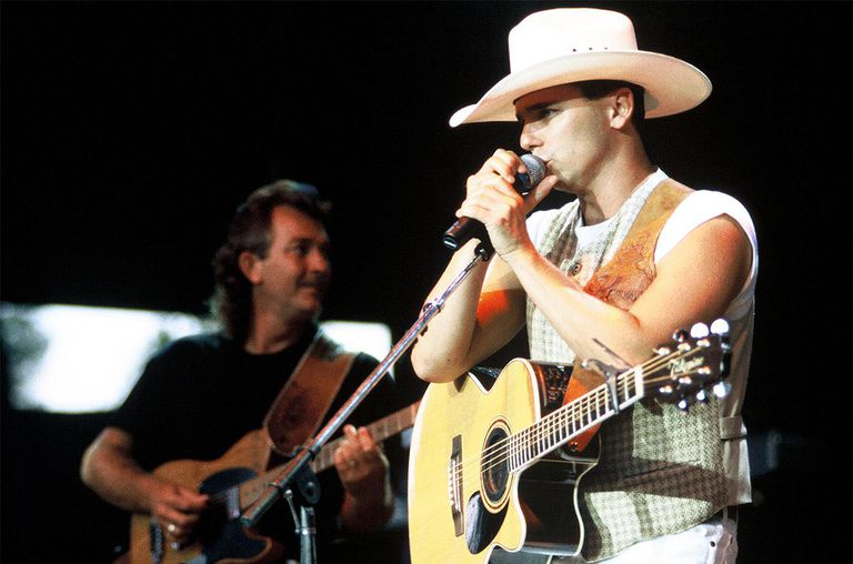 Kenny Chesney performing at Shoreline Amphitheater, 1996.