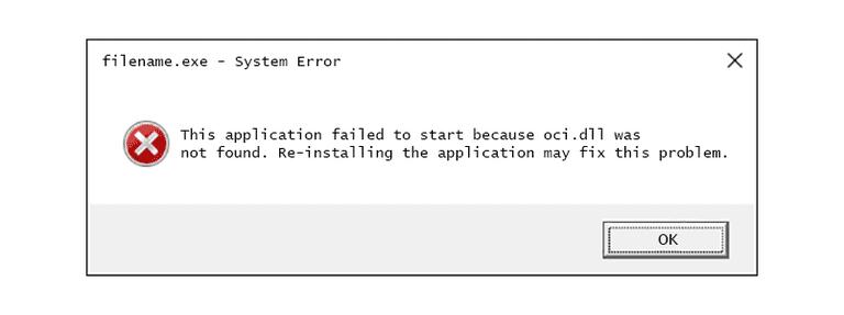 Screenshot of an Oci.dll error message