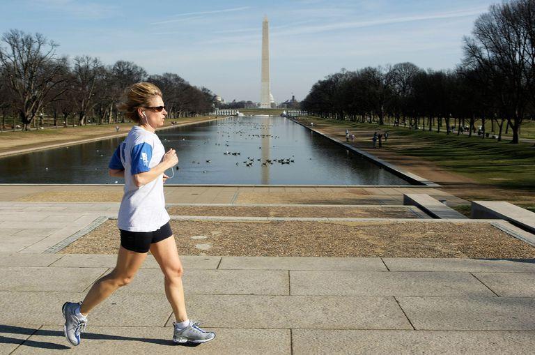 Runner Runs Past Washington Monument
