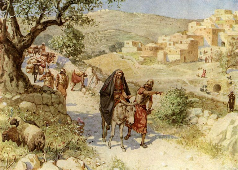 King David fleeing from Jerusalem is cursed by Shimei