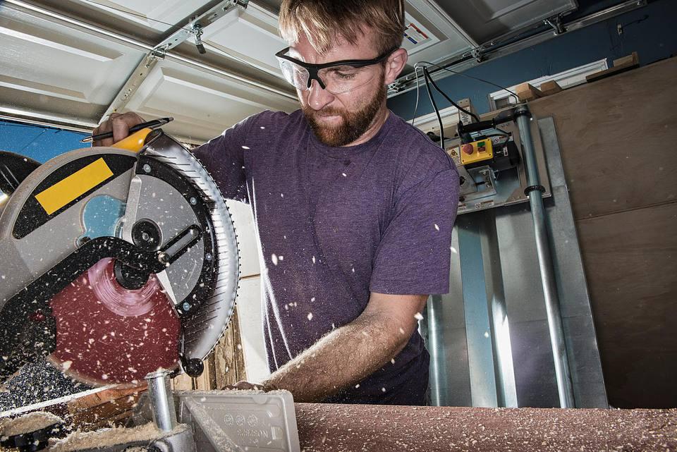 Joiner in garage using circular saw