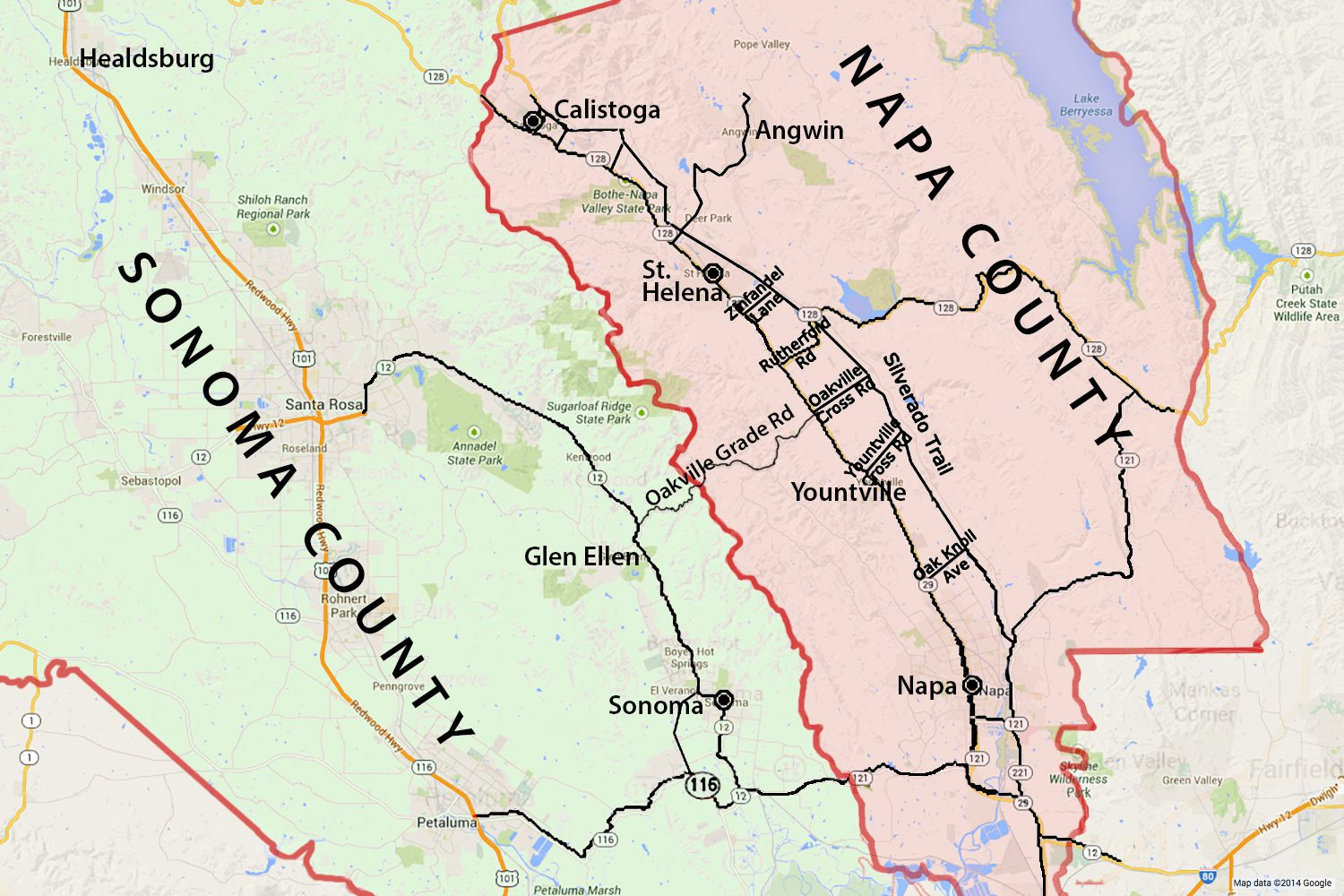 . wine country map sonoma and napa valley
