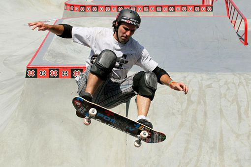 LOS ANGELES, CA - JULY 30: Andy Macdonald performs during the Skateboard Park Elimination at the Event Deck at LA LIVE during X Games 16 on July 30, 2010 in Los Angeles, California.