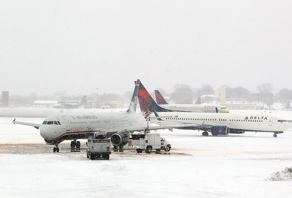A Plane Is Caught In A Blizzard At Msp Airport