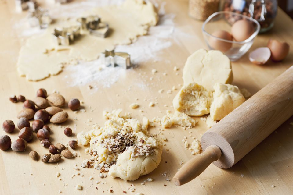 Crushed nuts on cookie dough