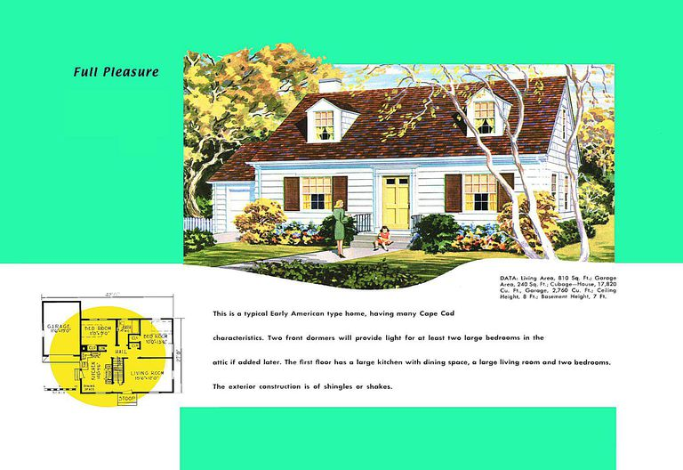Cape cod house plans 1950s america style for Cape cod style floor plans