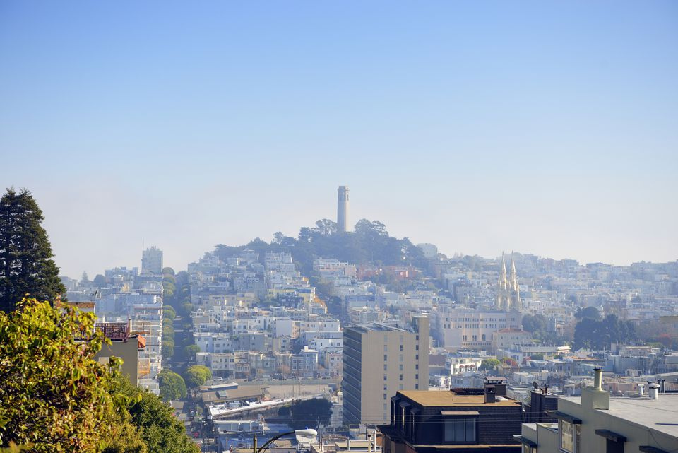 USA, California, San Francisco, view from Lombard Street on Telegraph Hill with Coit Tower