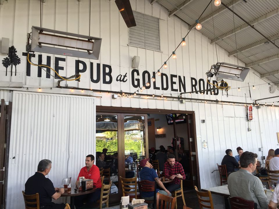 An outdoor patio at The Pub at Golden Road Brewery in Los Angeles