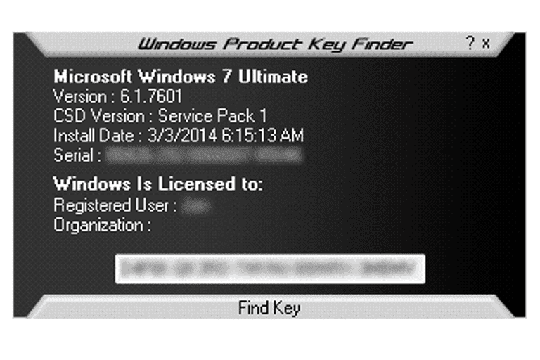 Screenshot of Windows Product Key Finder in Windows 7