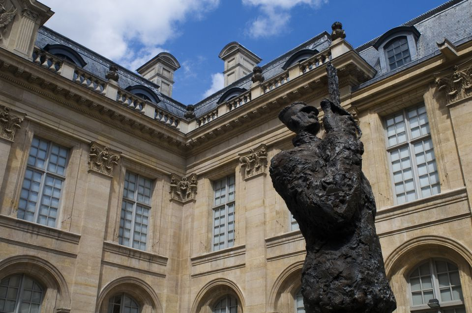 Sculpture in courtyard of Musee d'Art et d'Histoire du Judaïsme in Paris, France