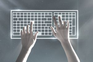 Hands typing on virtual keyboard