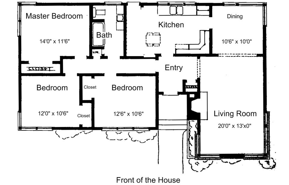 Free small house plans for ideas or just dreaming for Three bedroom house layout
