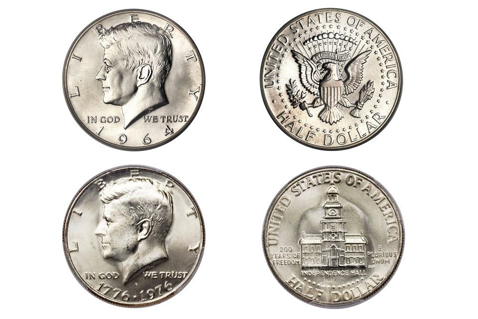 Kennedy Half-Dollar designs including regular issue and the circulating commemorative Bicentennial..