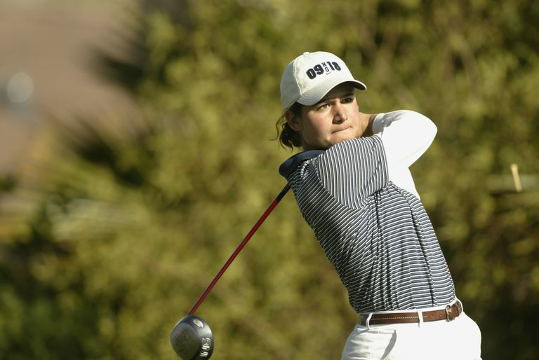 Lorena Ochoa of Mexico hits a shot during the first round of the PING Banner Health at Moon Valley CC in Phoenix, Arizona, in 2002.