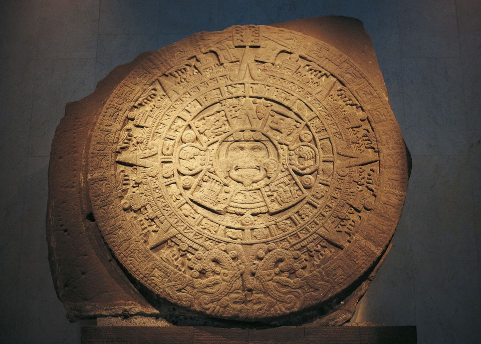 Aztec calendar, 15th century, Mexico. Aztec civilisation
