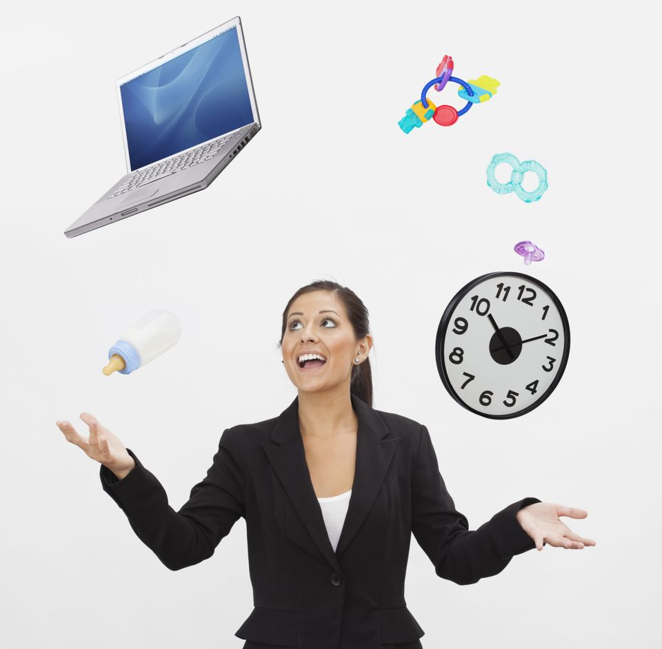 A picture of a woman who is juggling too much with her time