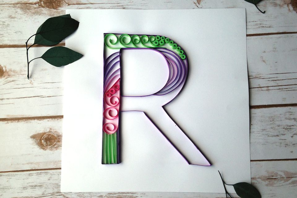 How to make a paper quilled monogram half finished quilled monogram letter r altavistaventures Images