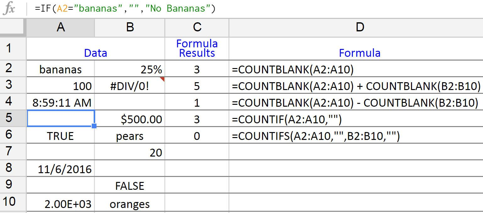 count blank or empty cells in google sheets
