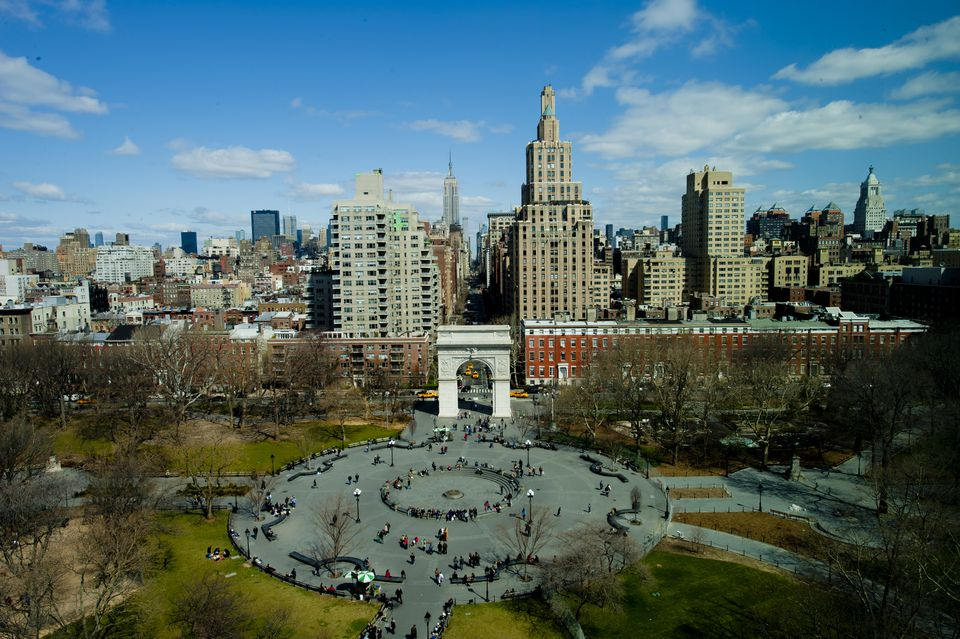 Aerial view of Washington Square in NY