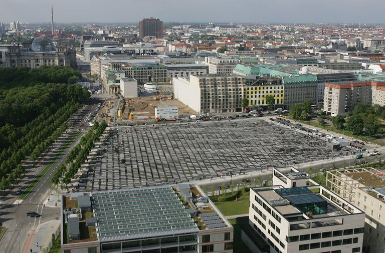 aerial view of the construction site of The Berlin Holocaust Memorial within site of the Reichstag