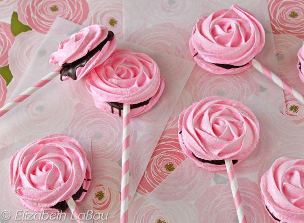 Meringue Rose Pops