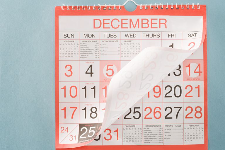 Calendar turning to the new year