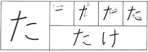 how to write the hiragana ta character