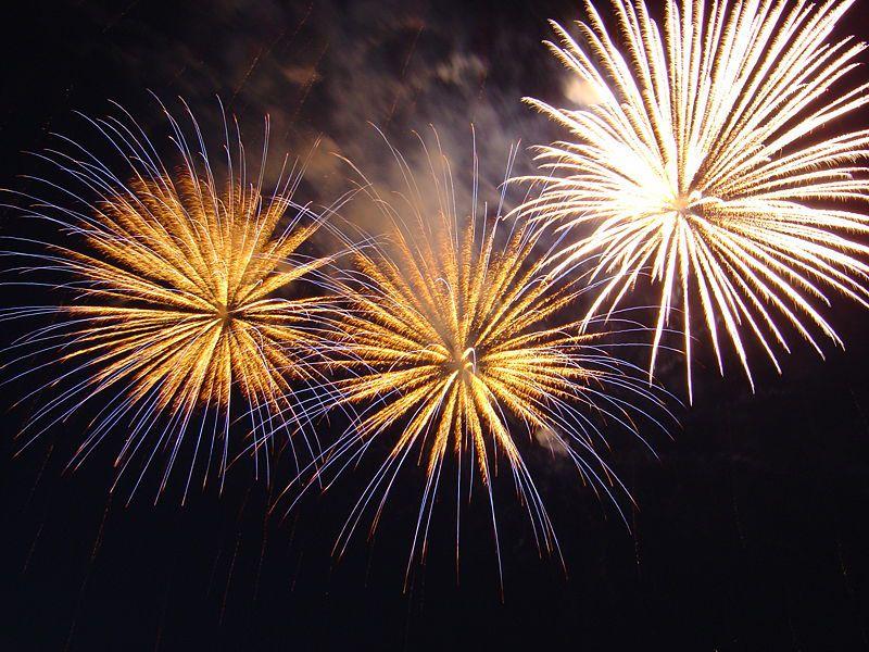 Fireworks display in Bratislava; New Year 2005.
