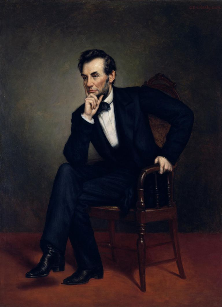 Vintage American Civil War painting of President Abraham Lincoln seated in a chair.
