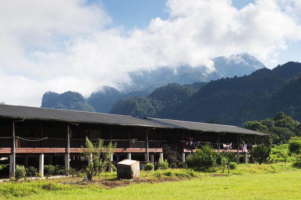 Newly built longhouse in Batu Bungan to resettle Iban nomadic tribespeople.