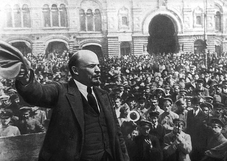 Lenin addressing crowd in Moscow, 1917